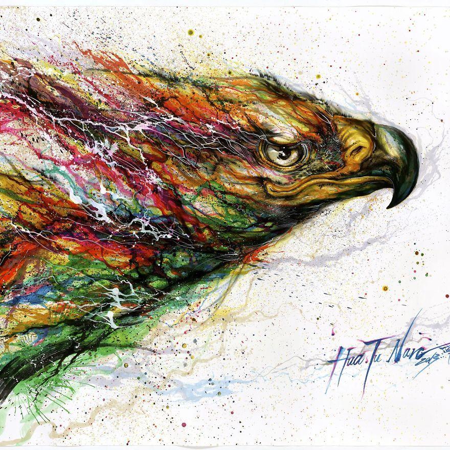 Splattered Ink Paintings Where I Turn Chaos Into Art Animal Paintings Ikea Art Art Event