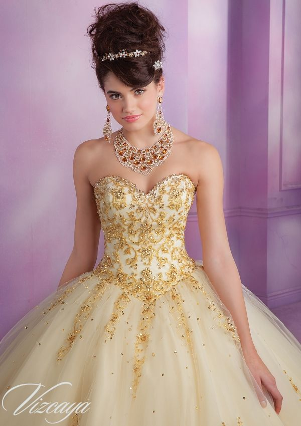 9e3e0dd00cc Quinceanera dresses by Vizcaya 89015 Embroidered Tulle Quinceanera Gown  with Beading Bolero Jacket. Corset Tie Back. Colors Available   Stiletto Gold