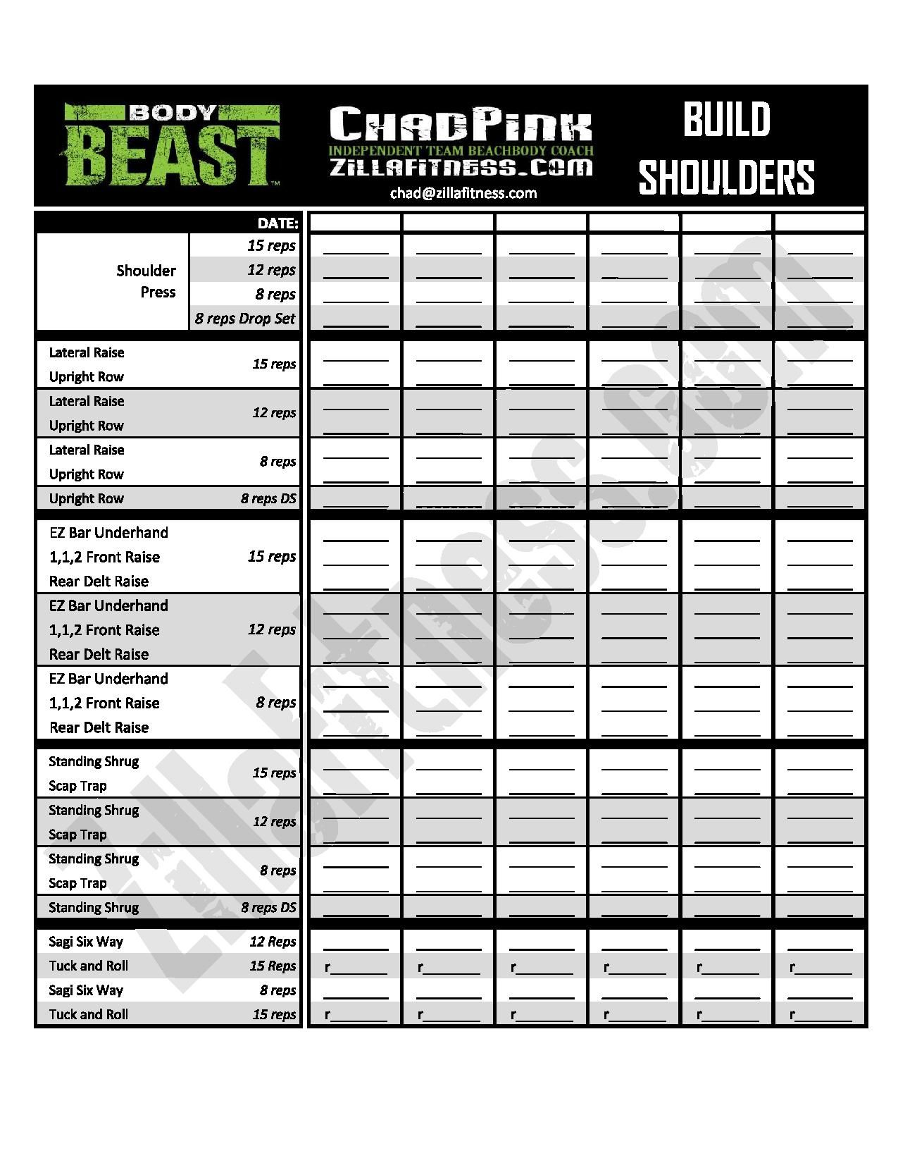 Updated New and improved Body Beast workout sheets Track your – Beast Workout Sheet