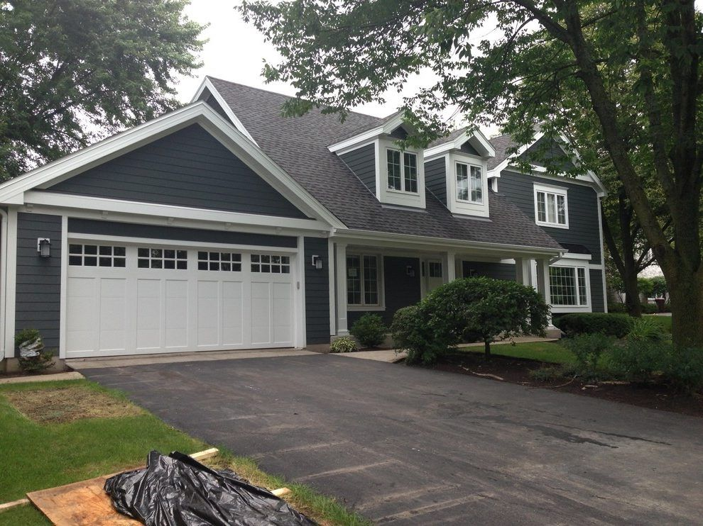 Iron Gray Hardie Exterior Traditional With Asphalt Driveway