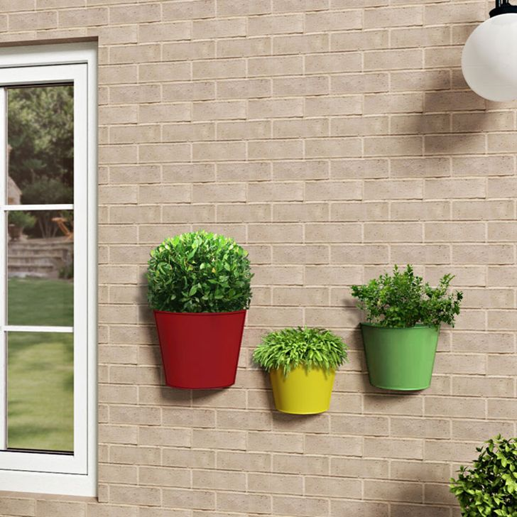 Shaz Living Three Pieces Half Round Wall Planter Pots Planters