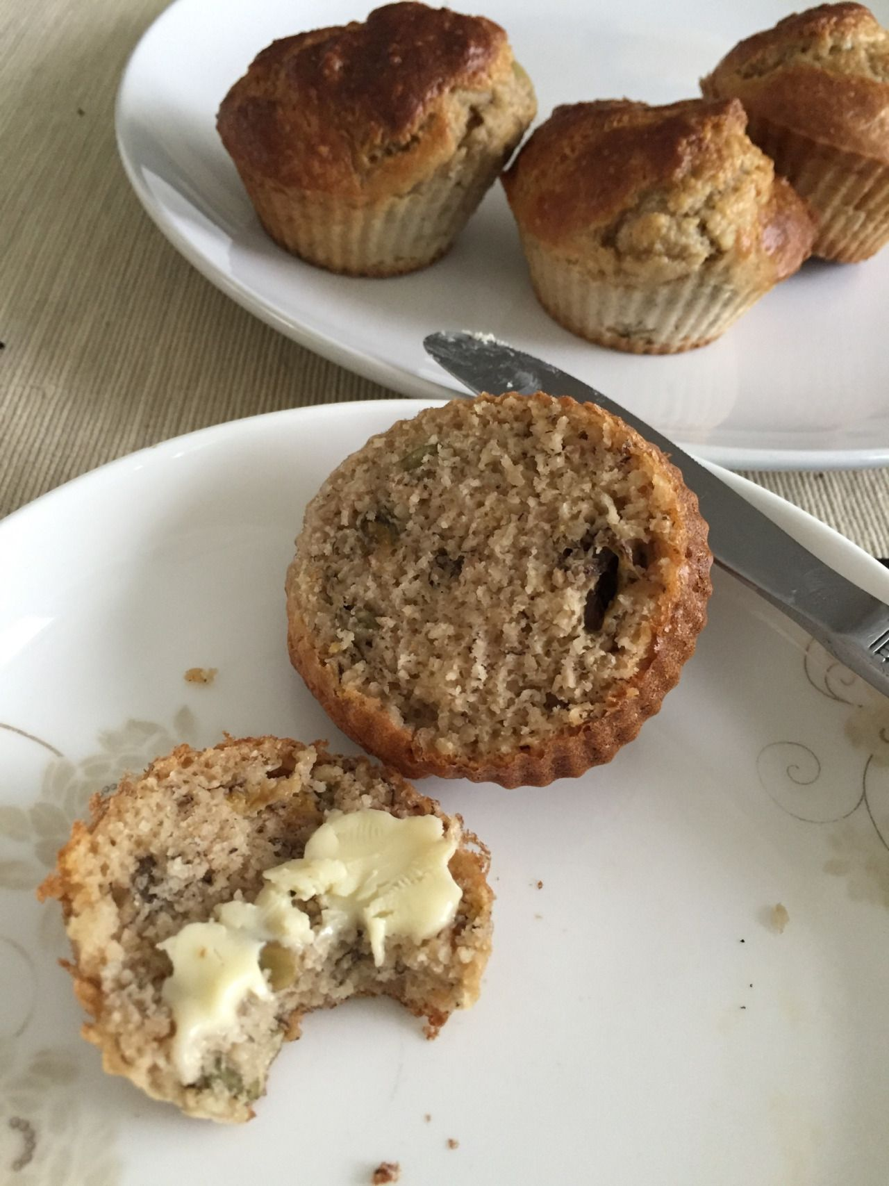 Banana breakfast muffins / scones   Soft and flaky and just the right texture for a scone .