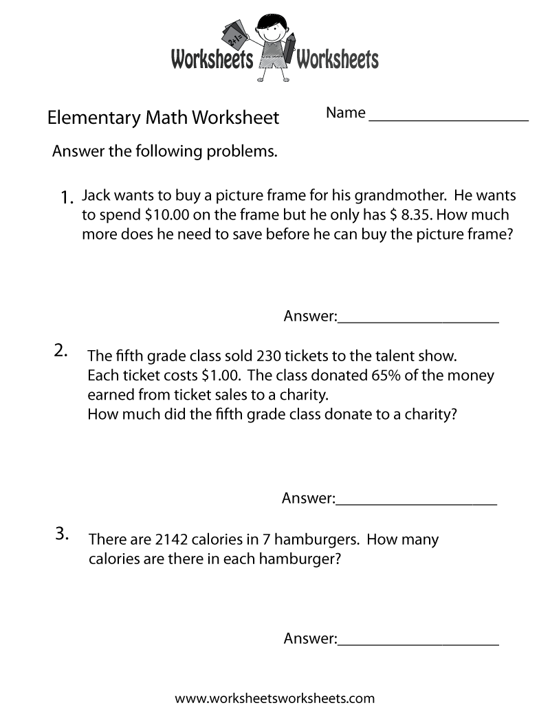 worksheet 5th Grade Math Word Problems Worksheets elementary math word problems worksheet free printable educational worksheet
