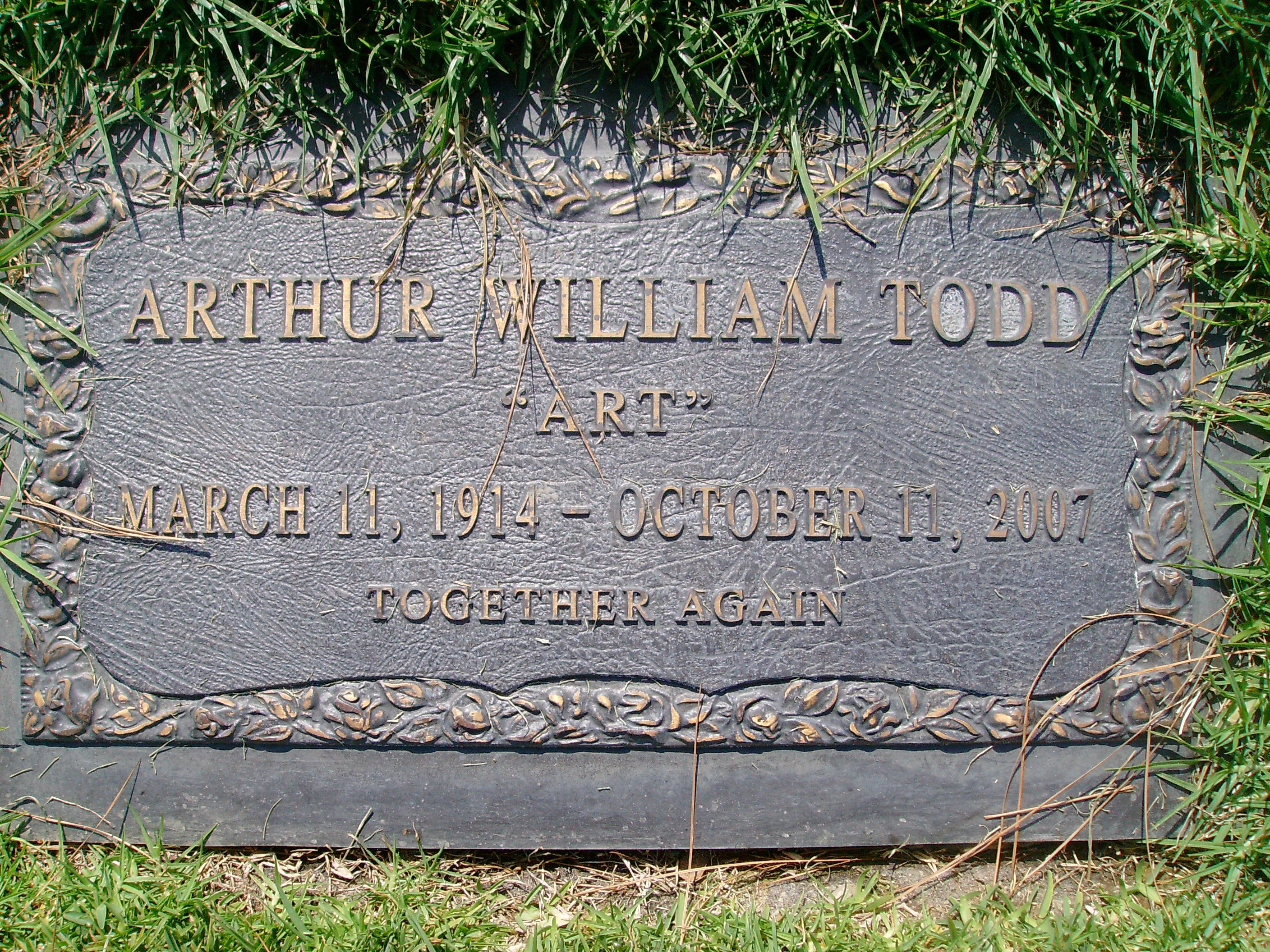 """Arthur W. Todd - Musician. He was a guitar player and with his wife Doris on piano, they were known as the singing duo, Art and Dotty Todd. They hold the distinction of being one-hit wonders in both the U.S. and UK, but with different songs. In 1953, they scored a number one hit in England with, """"Broken Wings"""". In America, their song """"Chanson d'Amour"""" peaked at number six on Billboard's Top 40 list, remaining on the charts for 11 weeks in 1958."""