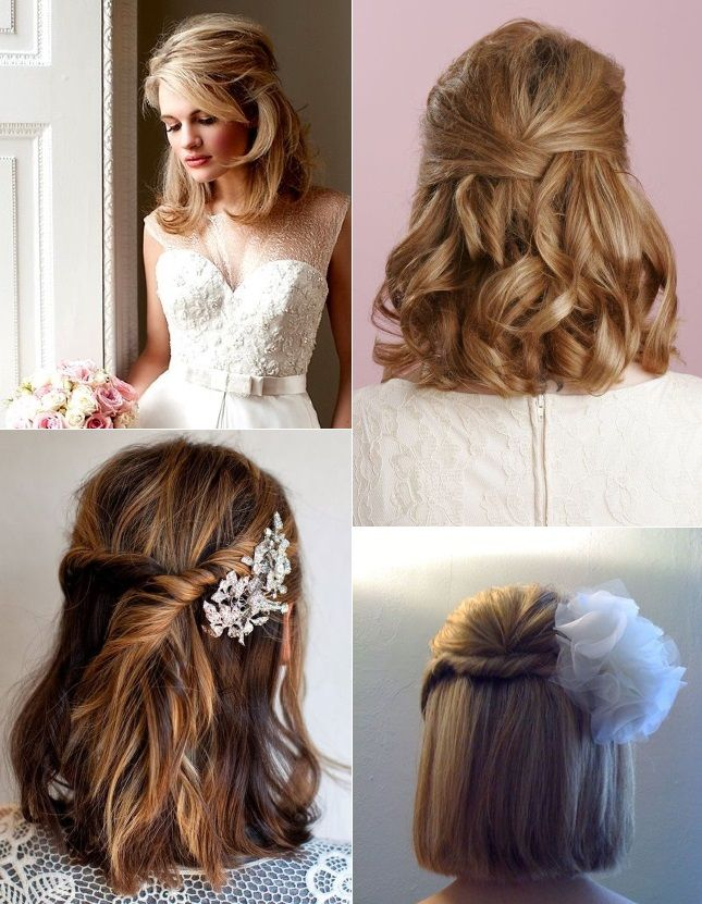 Half Up Half Down Hairstyles For Brides With Short Hair Rings