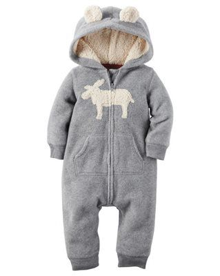 0a1264e5e95f Baby Boy Hooded Fleece Jumpsuit