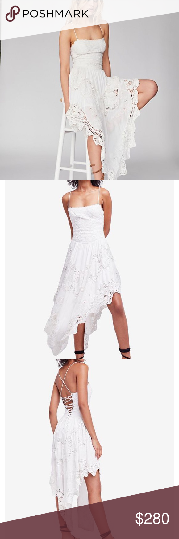 e092736d0849 Free People Love to Love You Cutwork Dress Absolutely Gorgeous! Free People  Love to Live You Cutwork Dress • True White • Asymmetrical Hem • Lace Up  Back ...