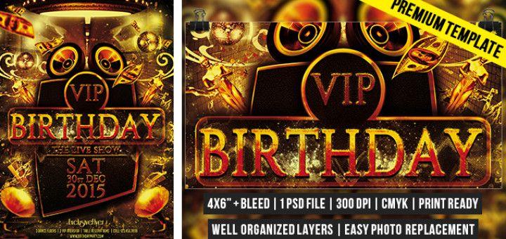 Vip Birthday – Premium Flyer Template http://www.exclusiveflyer.com/premium-templates/vip-birthday-premium-flyer-template/