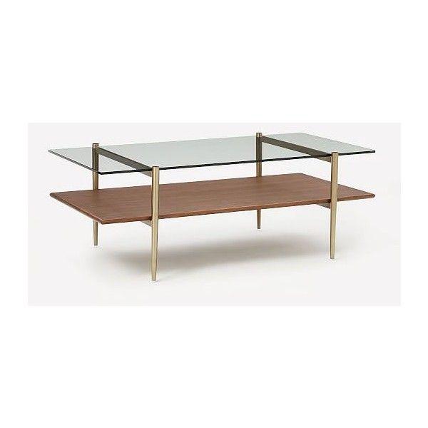 West Elm Art Display Coffee Table Glass Walnut Antique Brass - West elm glass side table