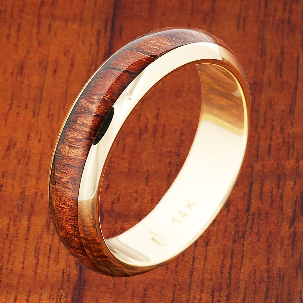 K yellow gold koa wood ring mm band dome shape ring gold and
