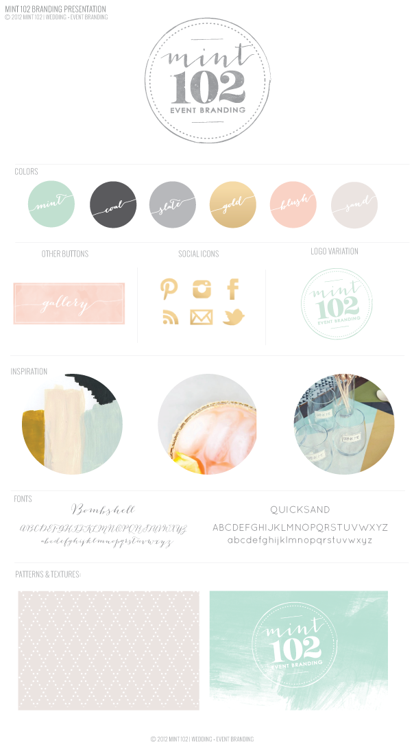 9b88e603782a Just Re-Launched   Mint 102 Wedding Branding - mint coal slate gray grey  gold pink
