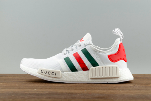 Chaussures De Course 2017 Adidas NMD Whiteblanc X Gucci