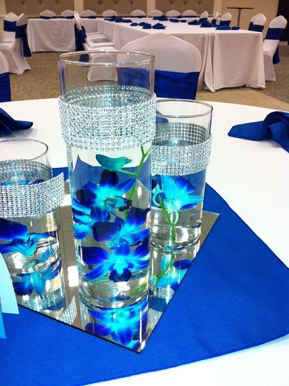 Centros de mesa para xv a os color azul 15 decoracion - Decoraciones en color plata ...