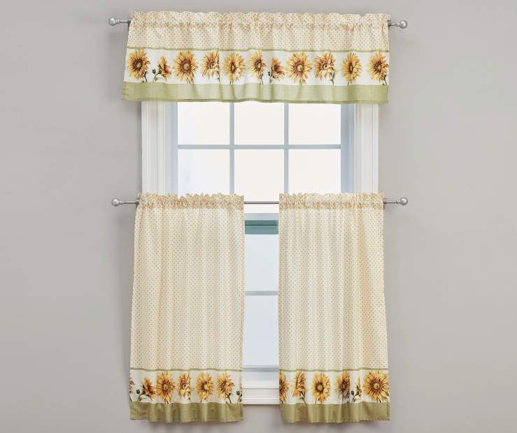 Sunflower Kitchen Tier Valance 3 Piece Set Polka Dot Curtains