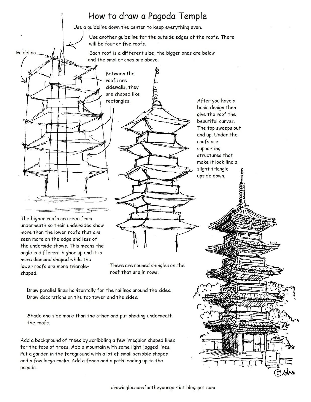 How To Draw Worksheets For The Young Artist How To Draw A Japanese Pagoda Temple Worksheet And