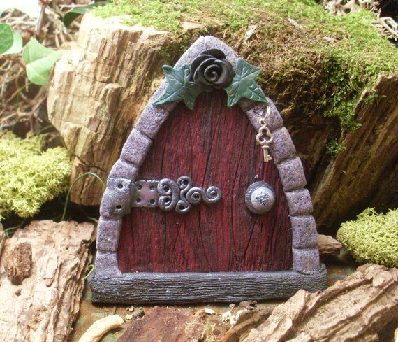 Gothic Fairy Door Wood style with black by TheCaterpillarQueen