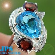 Zo Mooi !!!! AMAZING 11.75 cts SWISS BLUE TOPAZ, RED SPINEL & WHITE SAPP COCKTAIL RING 925  100% GUARANTEE SOLID 925 STERLING SILVER + GEM REPORT