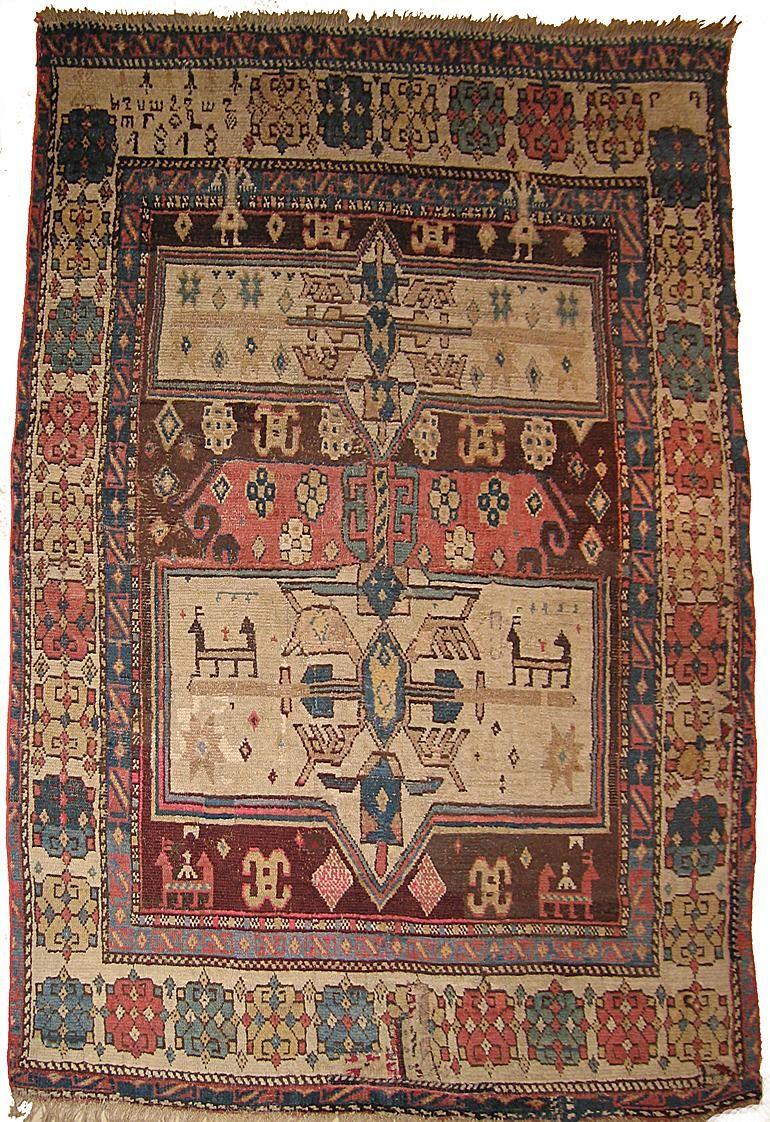 Kazak 183 X 130 Cm 6 X 4 3 1 5 Etrange Tapis Caucasien Portant La Date 1818 Le Texte Armenien Est Cependant Tribal Carpets Rugs On Carpet Tribal Rug