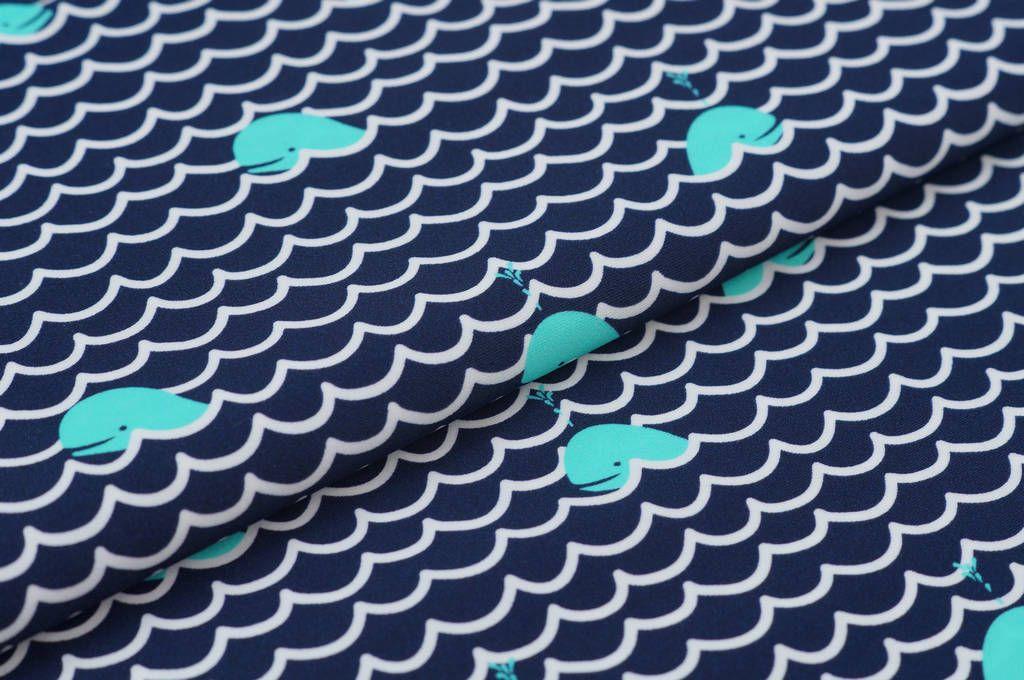Bademodenstoff Wale / Wellen auf dunkelblau / weiß Stoff für ...