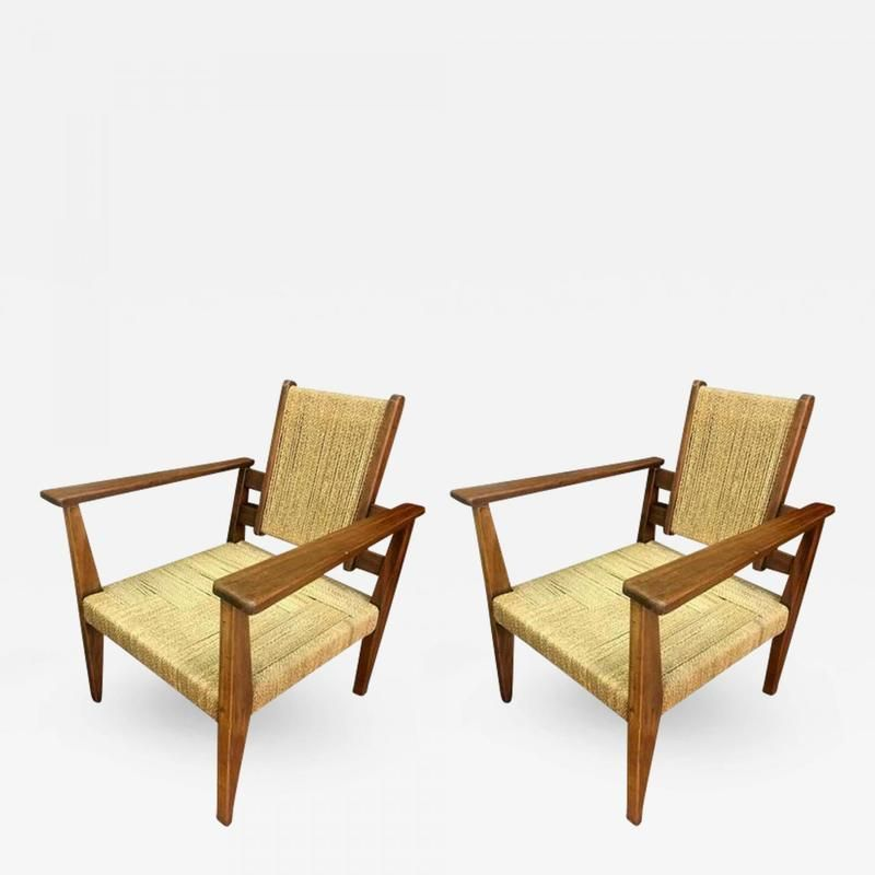 Victor Courtray Pair Modernist Rope Lounge Chair Arm Chairs