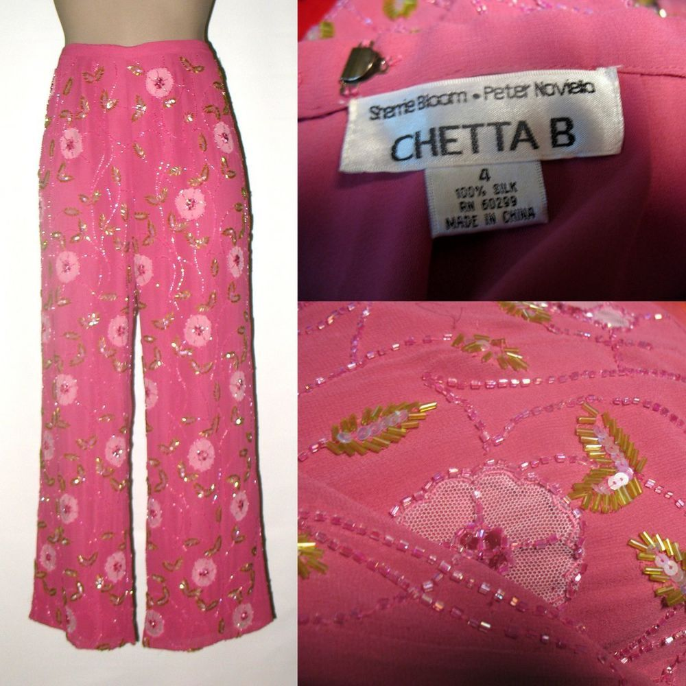 CHETTA B Silk Chiffon Beaded Cocktail Pants Sz 4/6 - Pink #ChettaB #Beadedpants