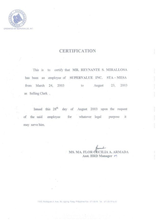 CERTIFICATE OF EMPLOYMENT SM SELLING CLERK Diy Denim