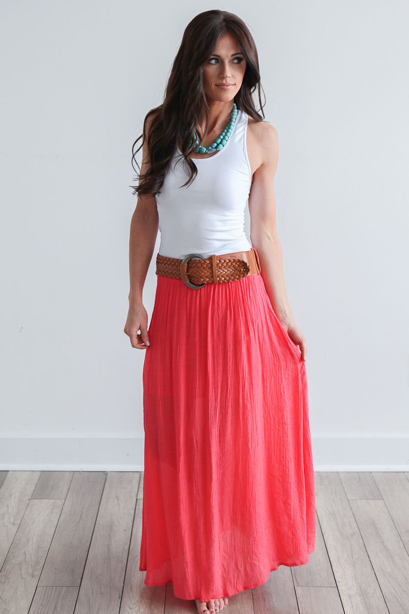 b256990b299d48 Magnolia Boutique Indianapolis - Belted Maxi Skirt - Coral, $34.00 (http://