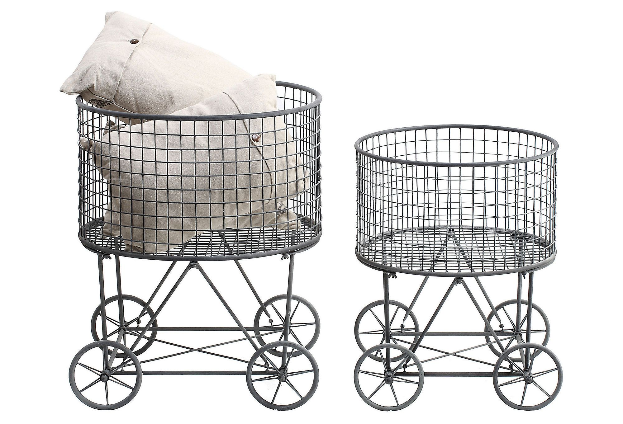 Wheeled Metal Laundry Baskets Via Okl Industrial