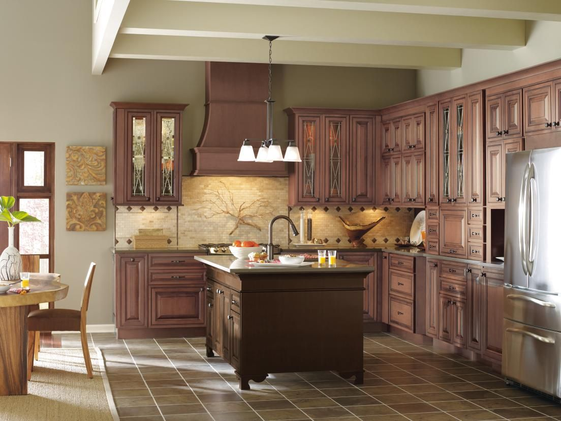 Medium Wood Kitchen Cabinets With Contrasting Dark Wood Kitchen Island    Traditional   Kitchen   Other Metro   MasterBrand Cabinets, Inc.