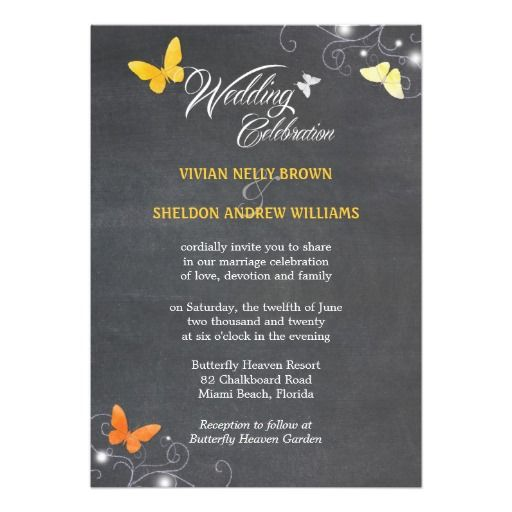 Trendy Chalkboard Butterfly Wedding Invitations wedding