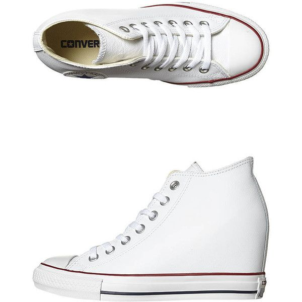 Converse Chuck Taylor All Star Lux Wedge Leather Shoe (360 DKK) ❤ liked on Polyvore featuring shoes, white clematis blue, real leather shoes, blue white shoes, leather shoes, blue shoes and blue wedge shoes