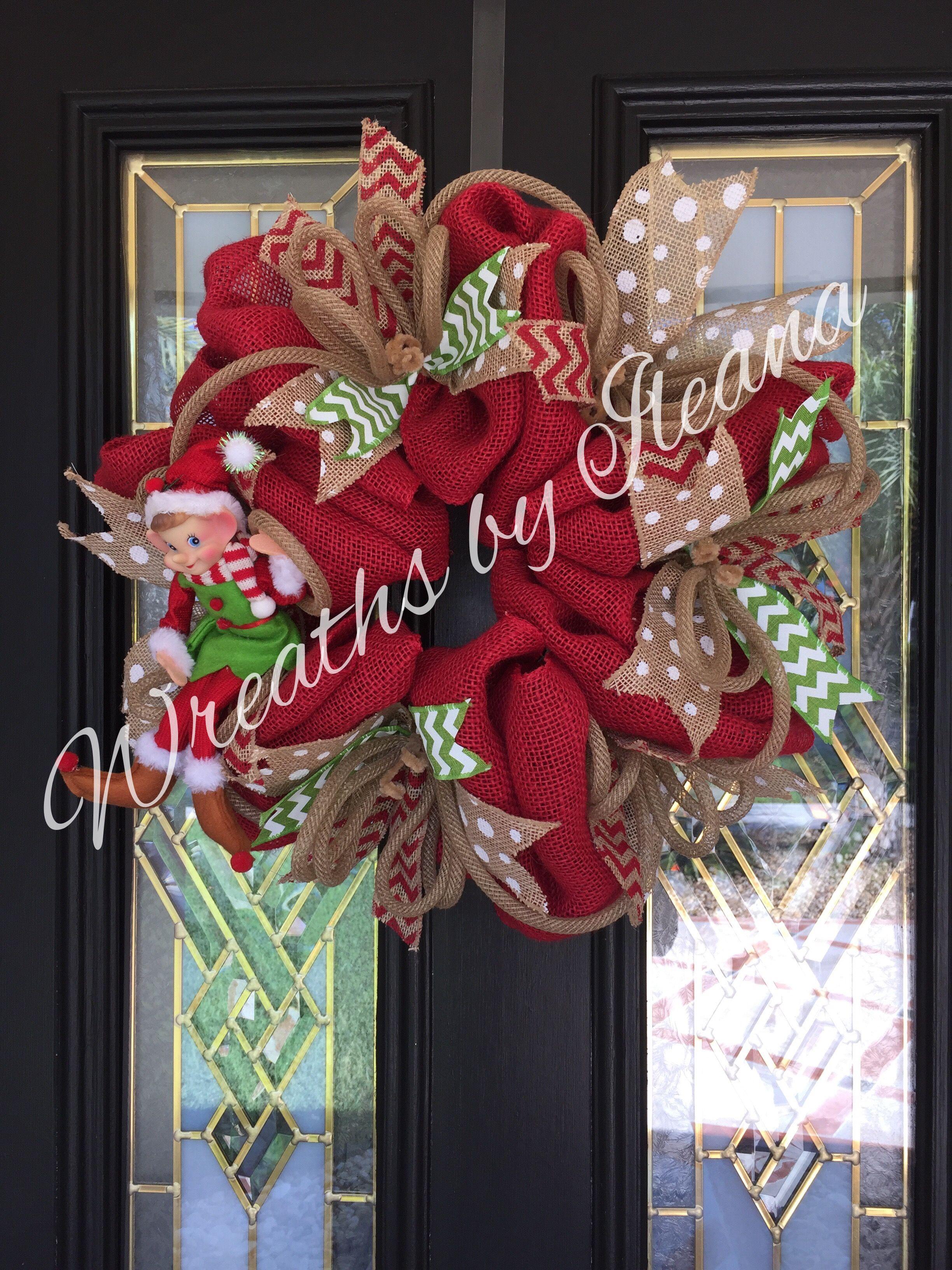 Elf Christmas burlap wreath, burlap wreath, #elfwreath, #elfChristmaswreath