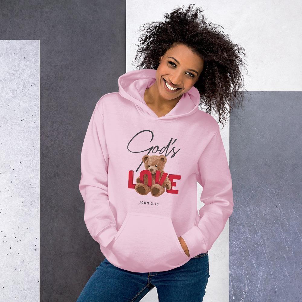GOD'S LOVE Unisex Hoodie - S / Light Pink
