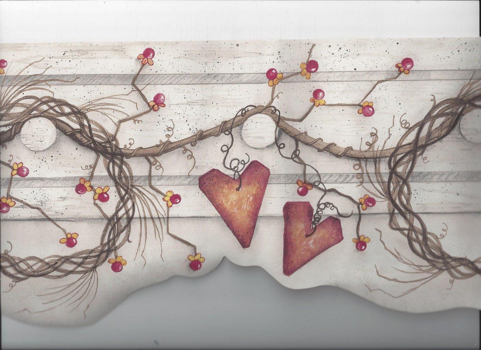 PRIMITIVE GRAPEVINE WREATH BERRIES HEARTS DIECUT WALLPAPER