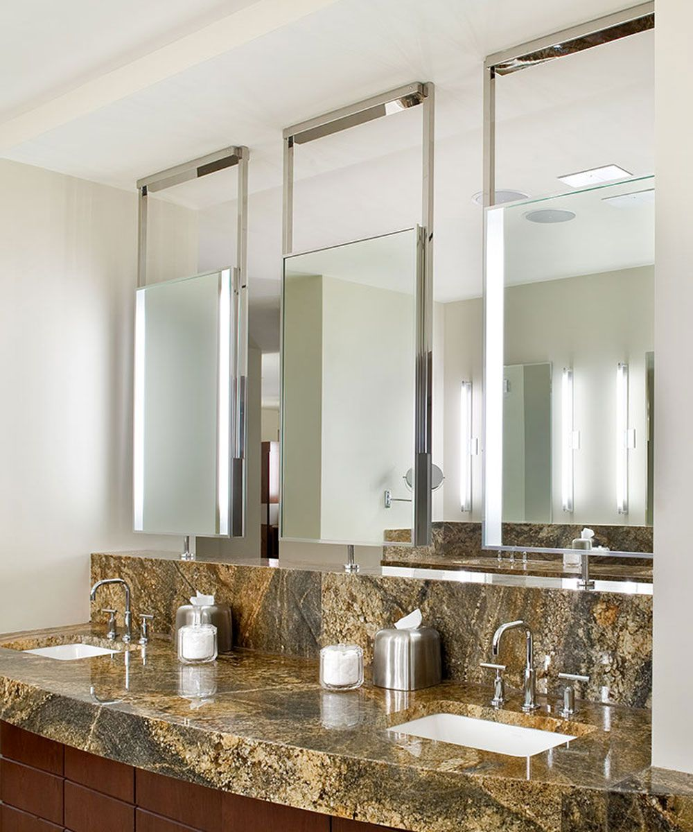 The Element Lighted Mirror Has Two Bands Of Vertical Frosted Light Is Ceiling Mounted Comes In Standard Sizes And Many Custom Upgrade Options