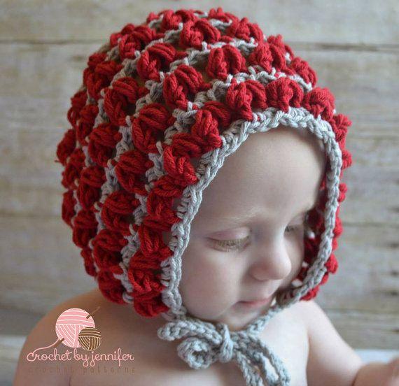 Crochet Pattern for Puff Stitch Baby Bonnet Hat - 4 sizes, newborn ...