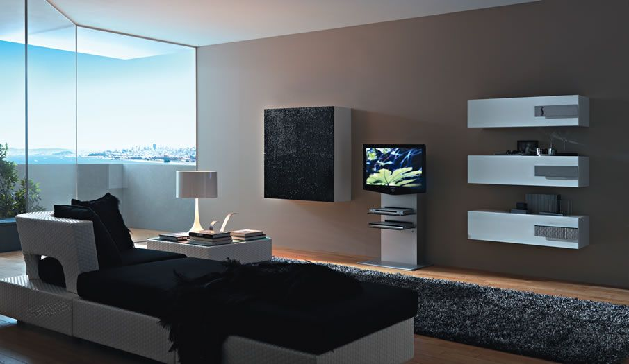modern living room tv wall units design in black and white colors - Wall Modern Design
