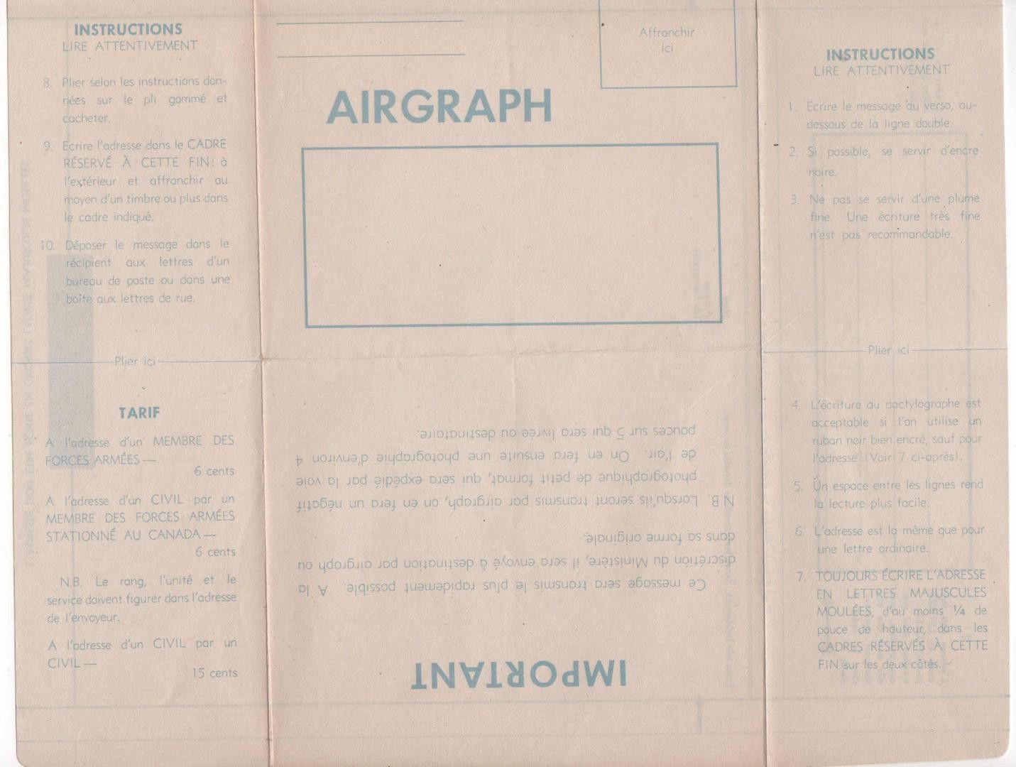 Image result for canadian ww2 airgraph lette peace country