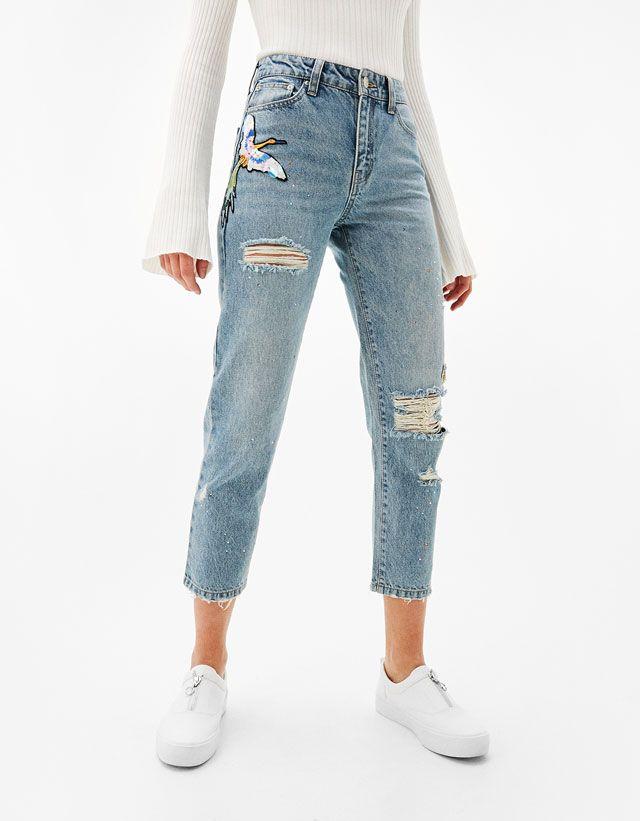 Risse Jeans Kleidung Frau Bershka Germany Jeans De Moda Pantalones De Moda Moda De Camiseta