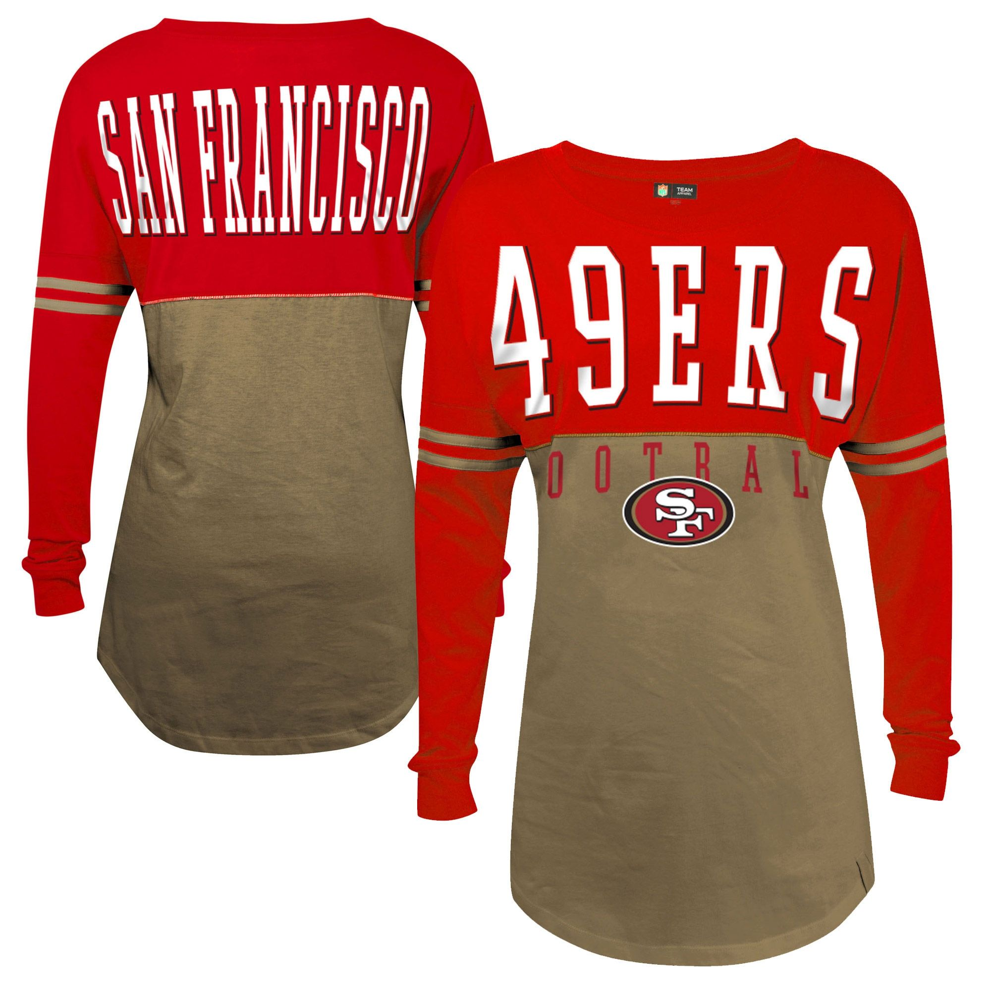 San Francisco 49ers 5th   Ocean by New Era Women s Baby Jersey Spirit Top  Long Sleeve T-Shirt - Gold 3091162d9c251