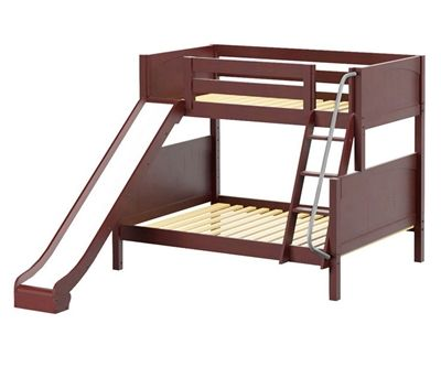 Maxtrix Slick Bunk Bed W Slide Twin Over Full Size Chestnut In 2019