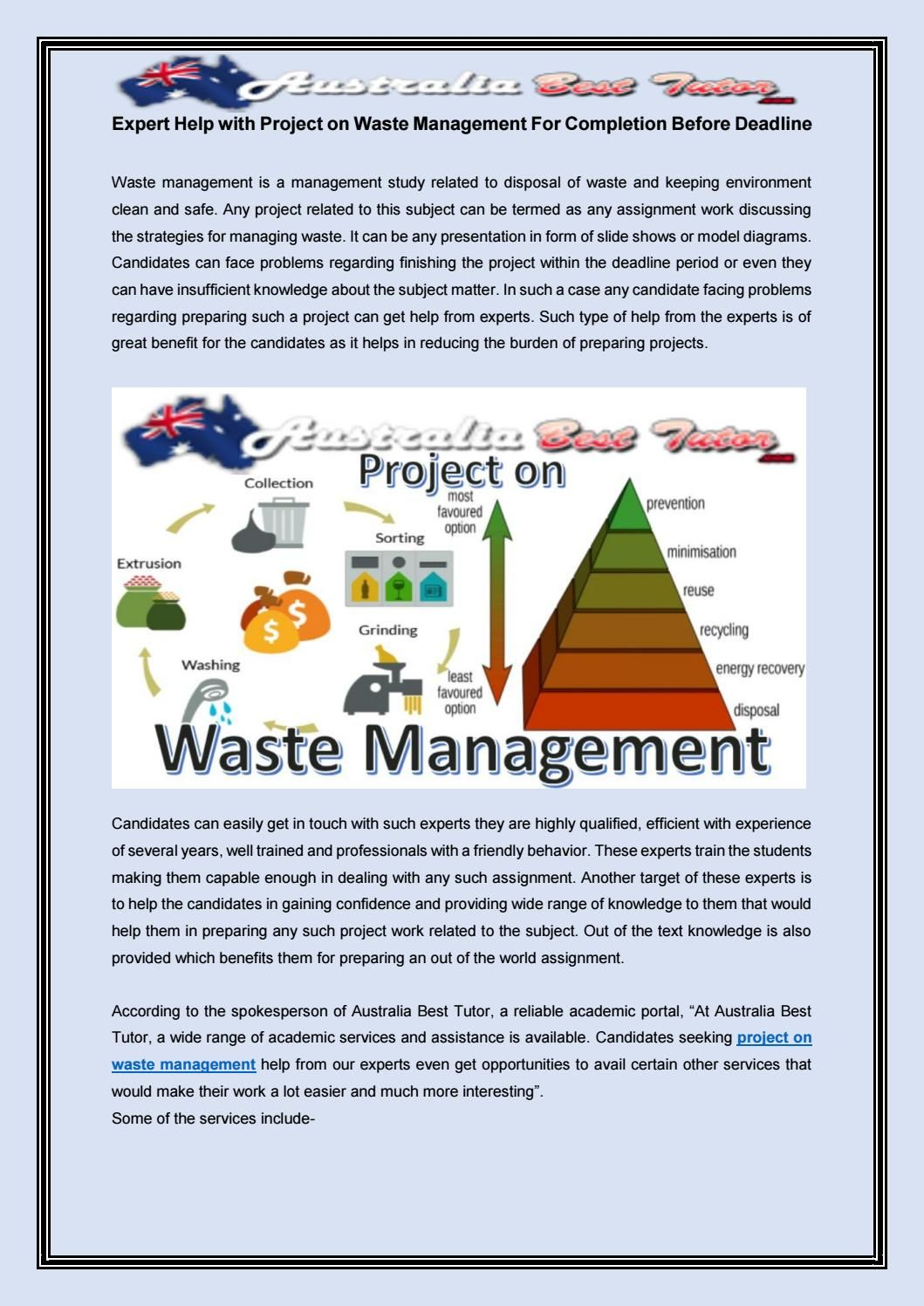 Expert Help With Project On Waste Management For Completion Before