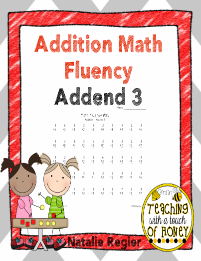 Addition Math Fluency: Addend of 3 - This set of ten activity sheets ...