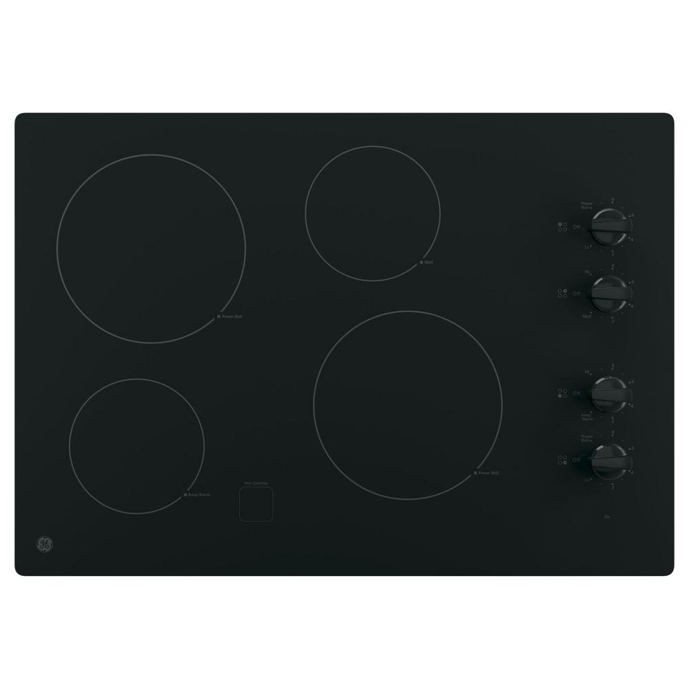 Ge 30 In Radiant Electric Cooktop In Black With 4 Elements Including 2 Power Boil Elements Jp3030djbb The Home Depot In 2020 Electric Cooktop Glass Cooktop Cooktop