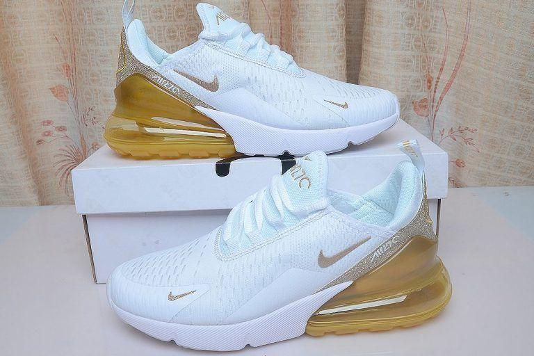 Nike Air Max 270 White Gold Glitter Swoosh Nike Shoes Air Max Nike Air White Nike Air Max