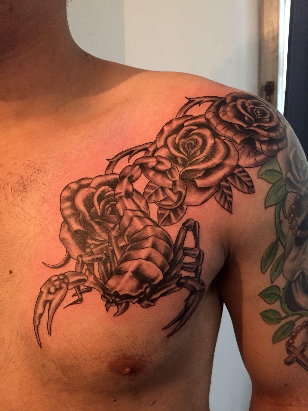 dcb6e0fa0 Rose and scorpion tattoo   Bruce tattoo   Tattoos for guys, Tattoos ...