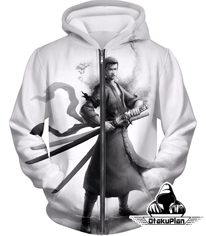 53e2cbfb03 One Piece Awesome 3D Sketch Printed Roronoa Zoro White Zip Up Hoodie OP147  #anime #animeboy #stuff #animeart #merchandise #animelover #comic
