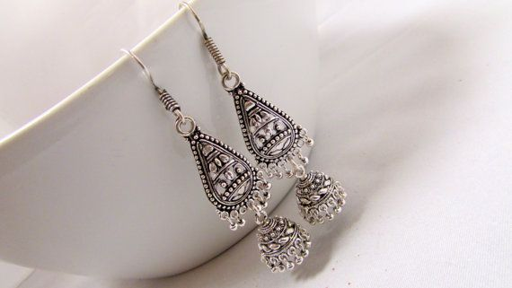 Oxidized Jhumki Dangle Earrings by RumiCollections on Etsy