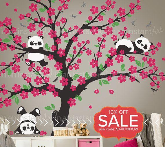 Cherry Blossom Panda Wall Decal Botanical Panda Wall Sticker Etsy Tree Wall Decal Wall Paint Designs Wall Painting