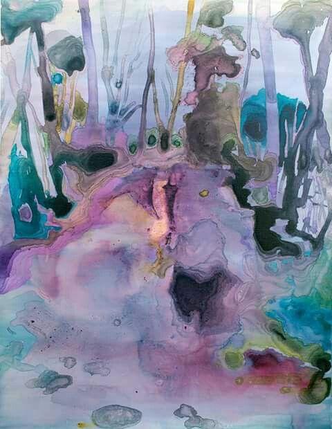 Il sud inonda di colori il giorno - ecoline and ink on canvas - cm 50 x 40
